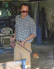 Wesley Fleming working at Fellerman and Raabe Glassworks