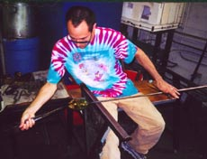 Wesley Fleming working in MIT Glass Lab