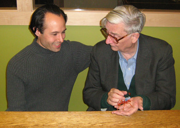 Wesley Fleming presenting glass ant to E.O. Wilson